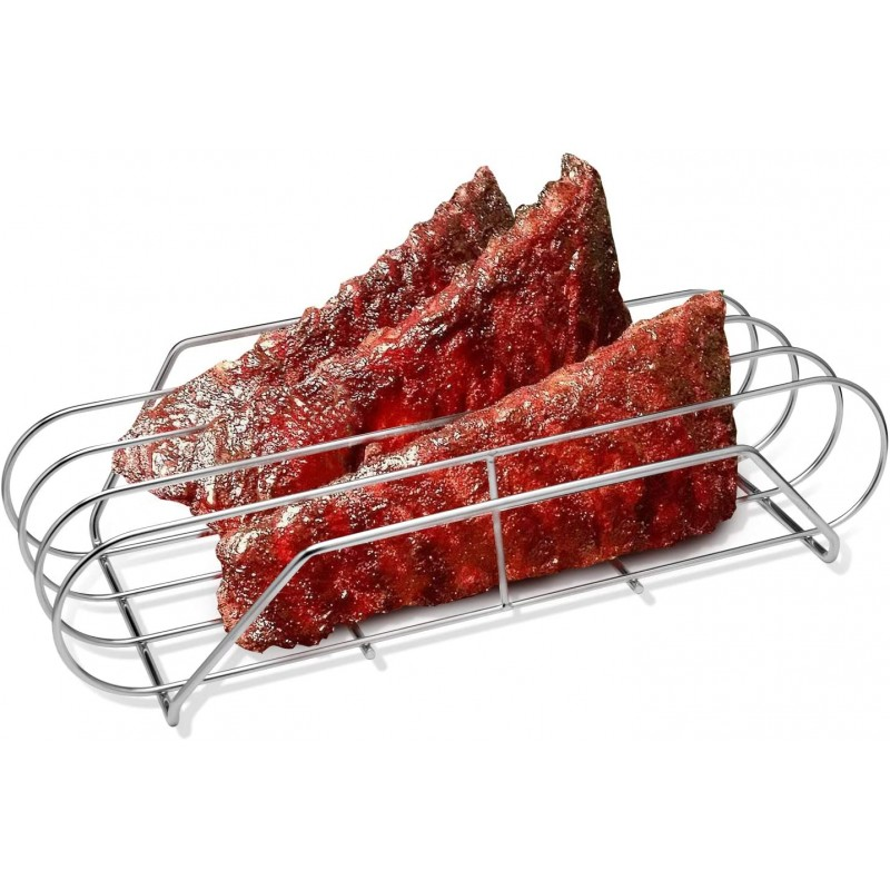 "Stainless Steel Rib Rack, Rib Grilling Roasting Rack for Grill and Smoker, Roasting Stand Holds up to 3 Back Ribs, 15.9"" L x 9.6"" W x 3.7"