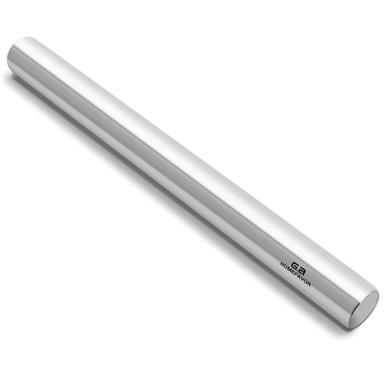 G.a HOMEFAVOR 40 cm Stainless Steel Rolling Pin, Professional Dough Roller for Baker, Pastry, Cookies, Pizza