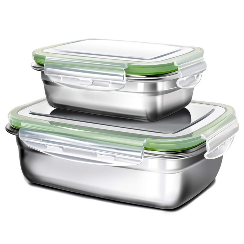 G.a HOMEFAVOR Lunch Box Stainless Steel Food Fruit Salad Container (Set of 2,Green)