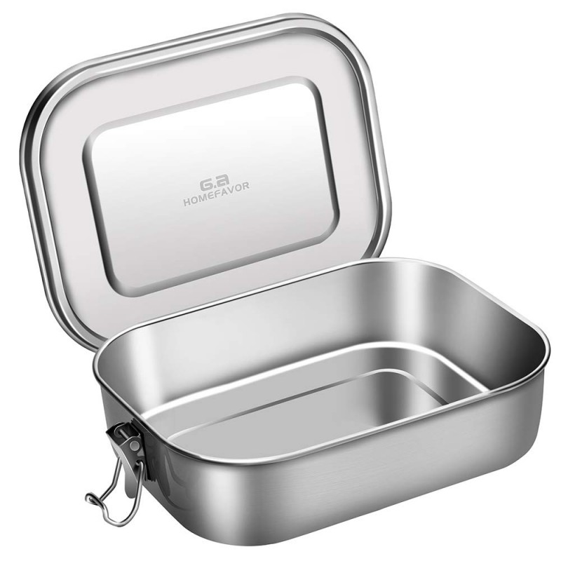 G.a HOMEFAVOR Stainless Steel Lunch Box Large Metal Bento Box 1400ml Food Container with Lock Clips