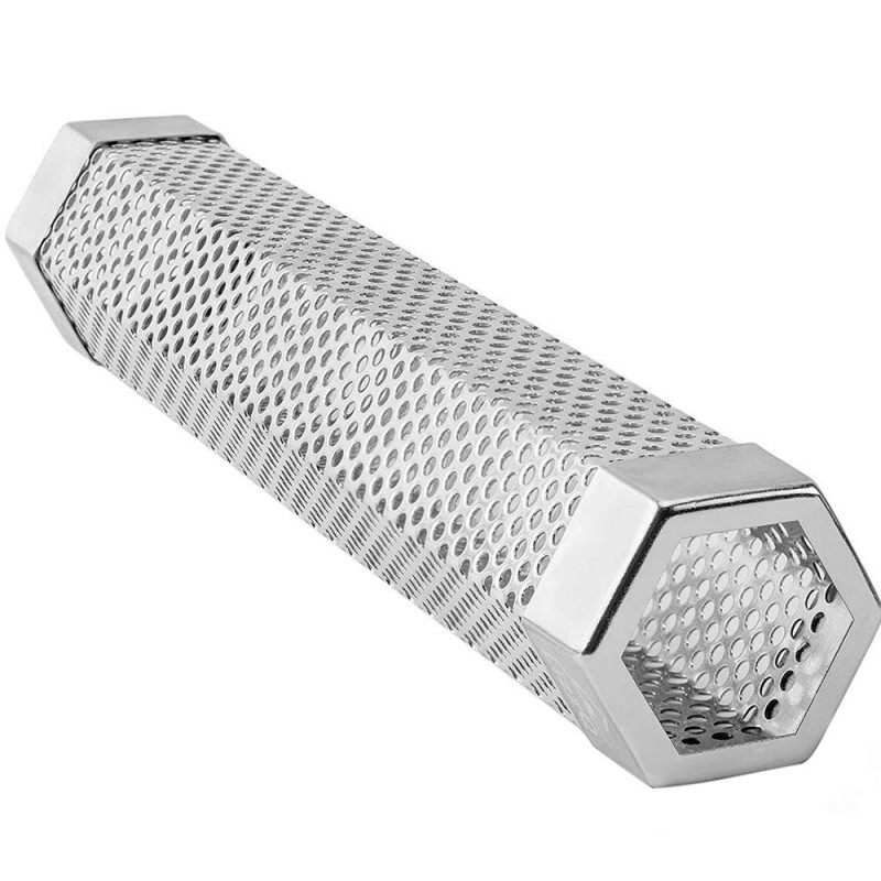 "Premium Hexagon Pellet Smoker Tube for Any Grill or Smoker, Hot and Cold Smoking, 5 Hours of Billowing Smoke, Easy, Safe and Tasty Smoking, 12"" Stainless Steel"