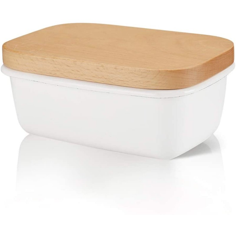Enamel Butter Dishes with Wooden Lids, Retro White Butter Box, Elegant Food Storage Box Container for Snack, Fruits, Nuts
