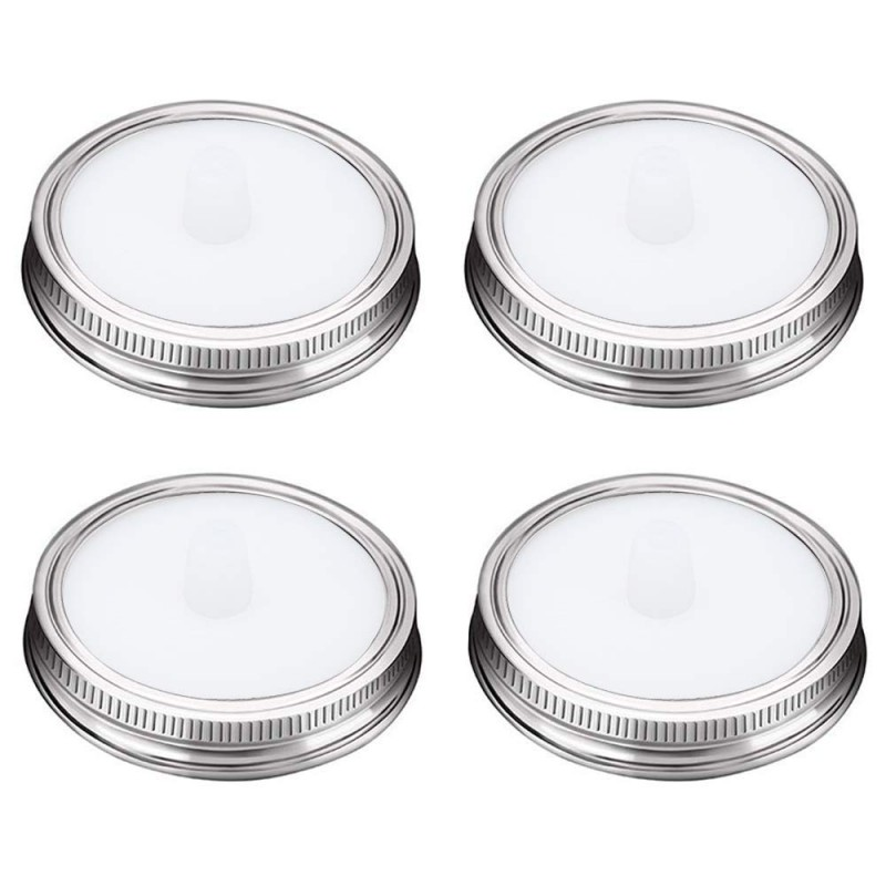 G.a HOMEFAVOR 4-Pack Waterless Silicone Fermentation Jar Airlocks Lids Kit + Stainless Steel Bands for Wide Mouth Mason Jars (White)