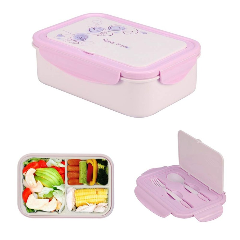 1000 ml Plastic Bento Lunch Box for Adults & Kids, Food Container with 3 Compartments and Cutlery Set(Fork and Spoon), Microwave & Dishwasher Safe (Purple)