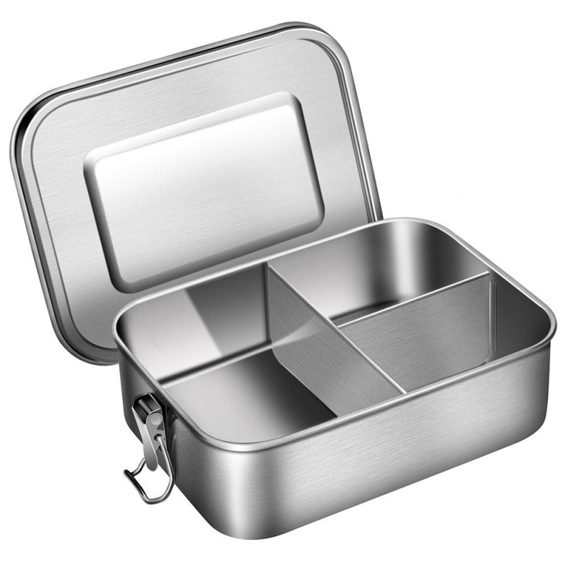 Leak Proof Stainless Steel Bento Box Metal Lunch Container with 3-Compartment, 1200ML, Perfect for Snacks and Salad, Dishwasher Safe