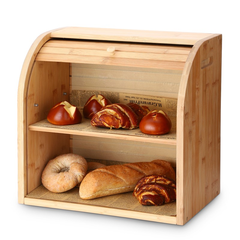 "Bread Box, G.a HOMEFAVOR 2 Layer Bamboo Bread Boxes for Kitchen Food Storage, Large Capacity Bread Keeper Roll Top with Removable Layer, 15"" x 9.8"" x 14.2"", 15 mm Thickness (Self-assembly)"