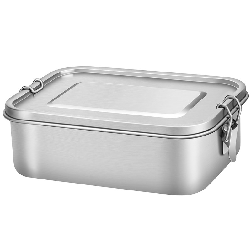G.a HOMEFAVOR Stainless Steel bento lunch box Container with Lock Clips Design, 1200ML Metal Lunch Box Containers for Kids or Adults- Dishwasher Safe - Stainless Lid - Leak Proof (No Compartments)