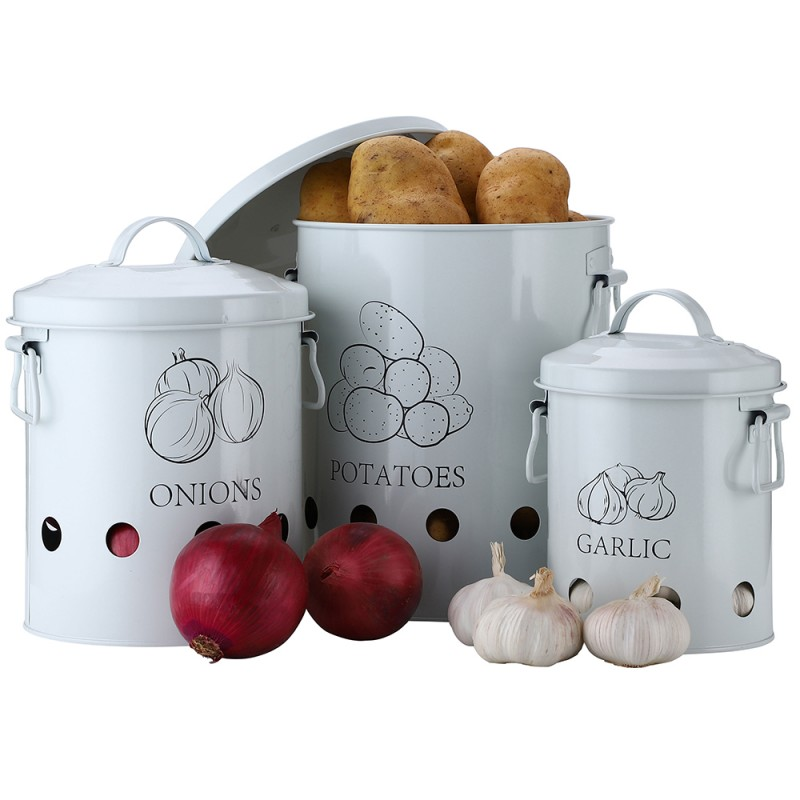 G.a HOMEFAVOR Set of 3 Antique Cream Vintage Potato Onion Kitchen Storage Canisters Jars Pots Containers 3 Pack Set, Potatoe, Garlic Bin Caddy, With Aerating Tin Storage Holes & Metal Lid