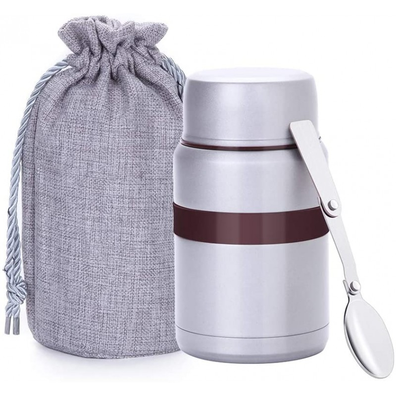 500 ml Vacuum Insulated Hot Food Flask, Stainless Steel Food Jar with Folding Spoon Storage Bag, Leakproof Food Container for Kids Adults, Gary