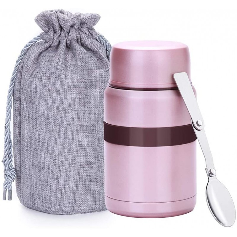 500 ml Vacuum Insulated Hot Food Flask, Stainless Steel Food Jar with Folding Spoon Storage Bag, Leakproof Food Container for Kids Adults, Pink