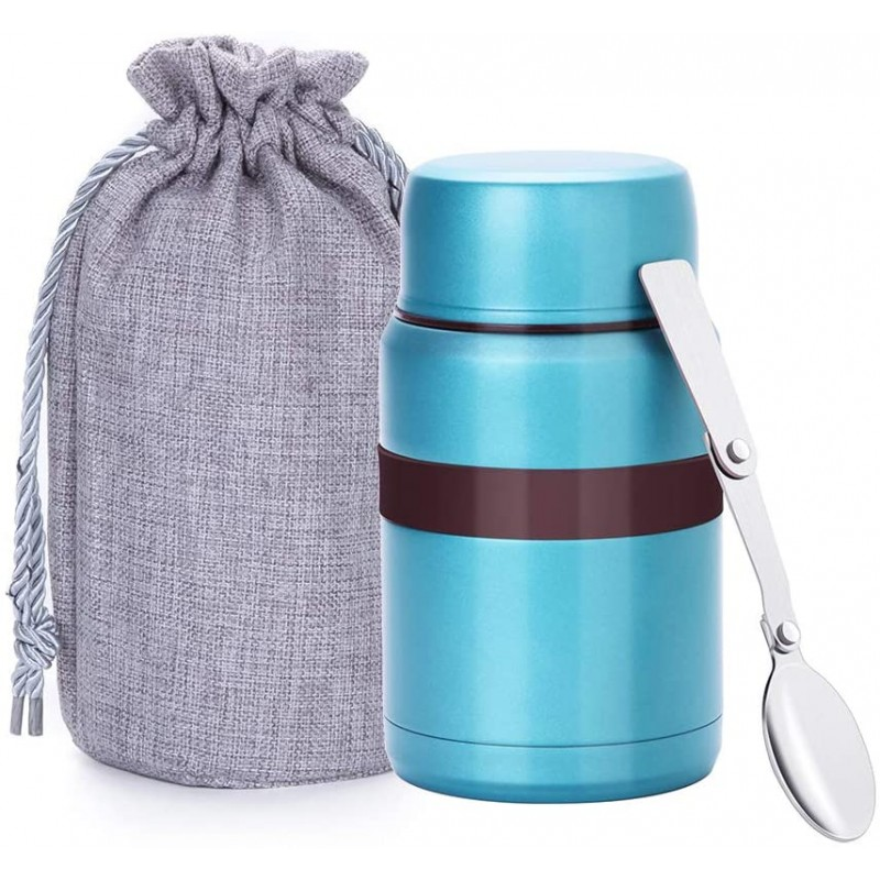 500 ml Vacuum Insulated Hot Food Flask, Stainless Steel Food Jar with Folding Spoon Storage Bag, Leakproof Food Container for Kids Adults, Blue