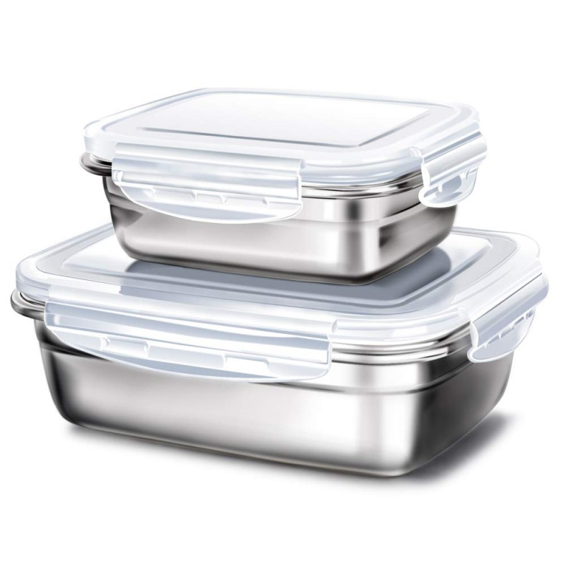 G.a HOMEFAVOR Lunch Box Stainless Steel Food Fruit Salad Container (Set of 2,Gray)