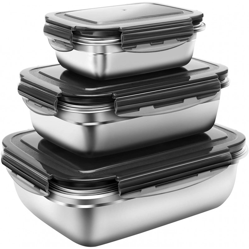 G.a HOMEFAVOR Set 3 in 1 Stainless Steel Bento Lunch Box with Leakproof Lid, 3 Piece 350ml + 850ml + 1800ml Metal Lunch Food Storage Containers for Kids or Adults - Dishwasher Safe