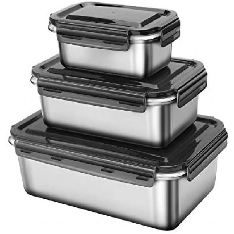316 Stainless Steel Fresh-Keeping Container,Rerigerator special Sealed Box-Set of 3 Sizes (600ml + 1400ml + 2800ml) Large Lunch Box with Leak-Proof Design - for Kimchi, Vegetables and Meats