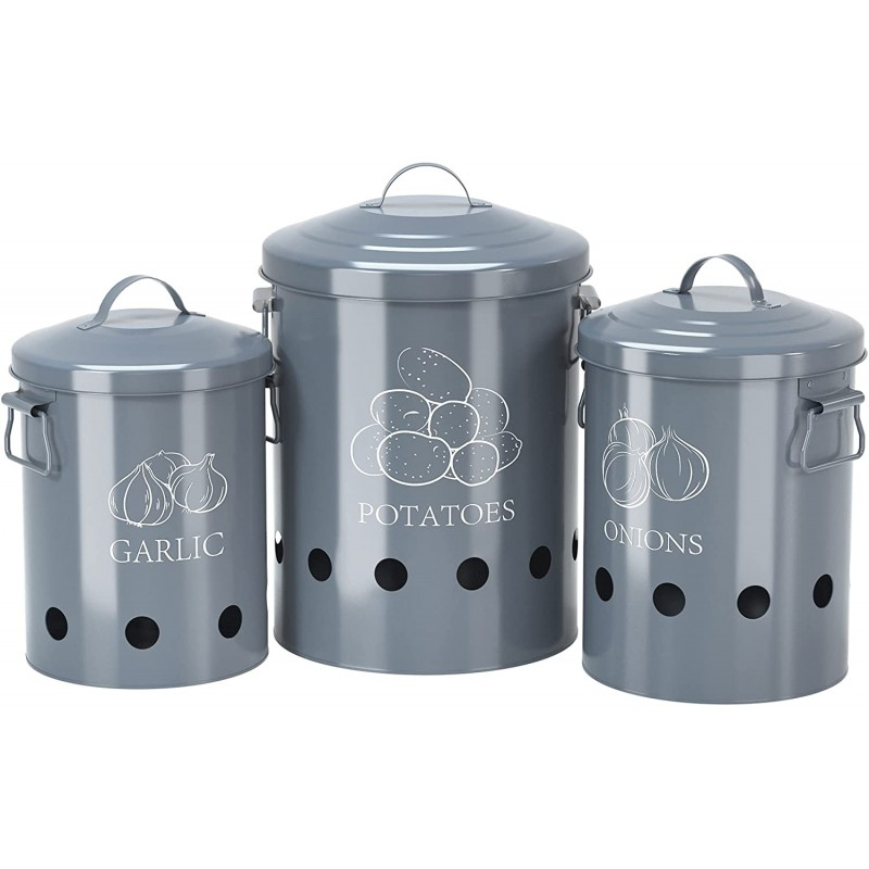 Set of 3 Antique Cream Vintage Potato Onion Kitchen Storage Canisters Jars Pots Containers 3 Pack Set, Potatoe, Garlic Bin Caddy, Grey