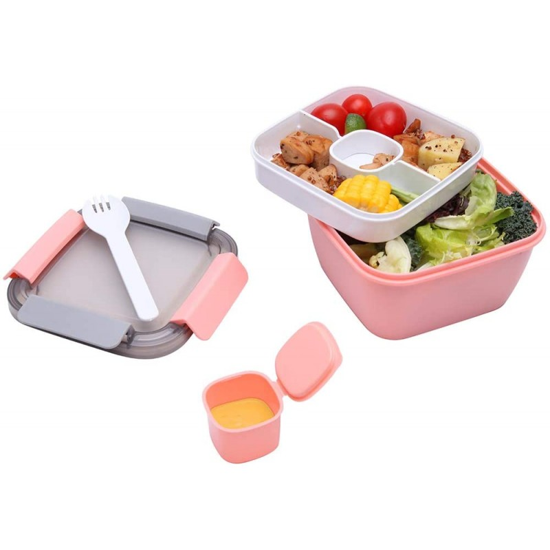 1.1 Litre Salad Container with Dressing Pot & Cutlery, Leak Proof Salad Bowl to the Go with 2 Compartment for Salad Toppings & Snacks, Microwavable Plastic Bento Lunch Box (Blue)