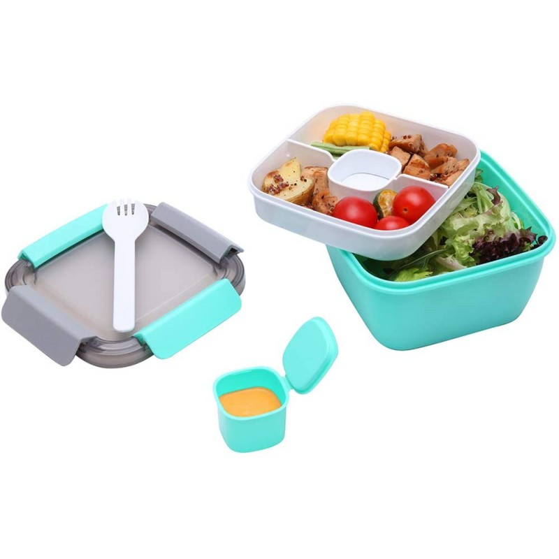 1.1 Litre Salad Container with Dressing Pot & Cutlery, Leak Proof Salad Bowl to the Go with 2 Compartment for Salad Toppings & Snacks, Microwavable Plastic Bento Lunch Box (Green)