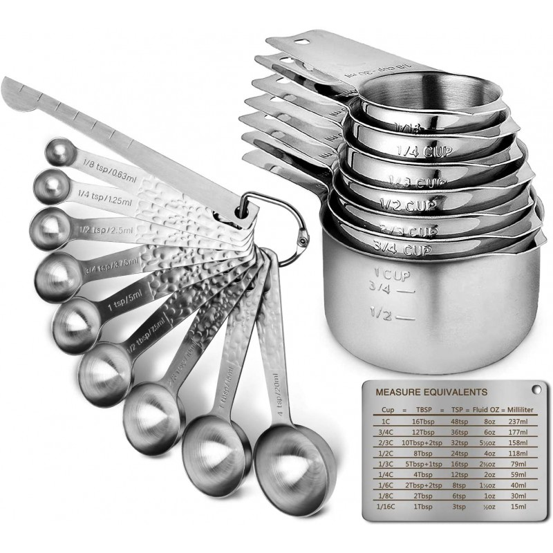 G.a HOMEFAVOR Set of 18 Pcs Measuring Spoons Cups Durable Single Stainless Steel 7 Measuring Cups and 9 Measuring Spoons+Level with 2x D-Rings and Magnetic Measurement Conversion Chart
