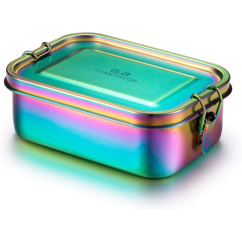 Rainbow Color Lunch Box 800ml Stainless Steel Bento Box, Large Metal Food Container with Lock Clips, Leakproof Design - Dishwasher Safe
