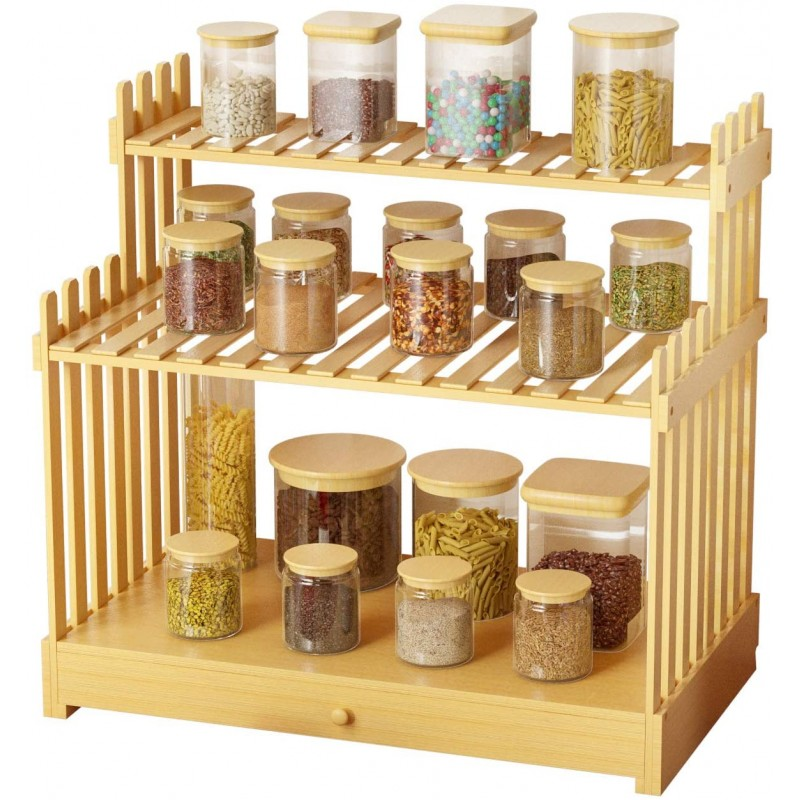 "3-Tier Natural Bamboo Spice Rack, Standing Spice Rack Organizer with Tool Drawer, 17.1"" x 9.7"" x 15.6"""