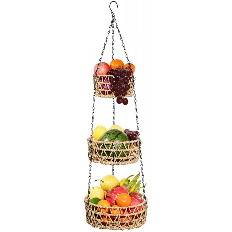 G.a HOMEFAVOR 3-Tier Hanging Fruit Basket Paper Rope Woven Vegetable Storage and Fruit Organizer
